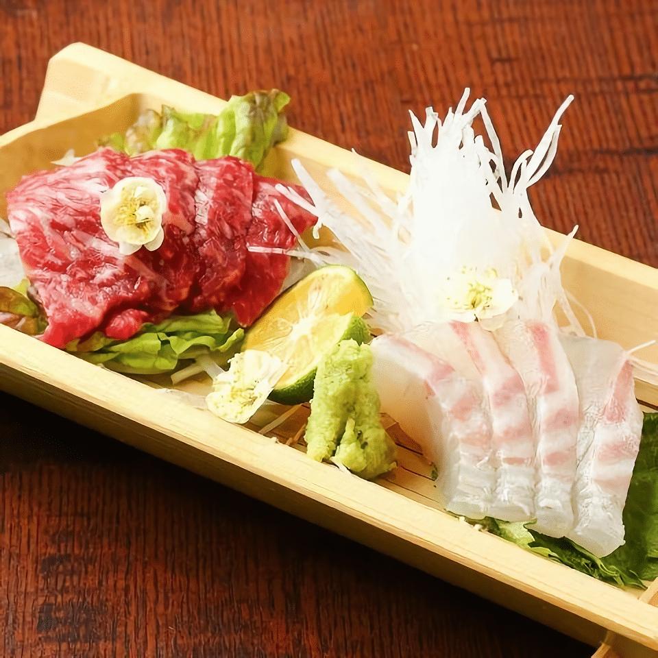 Fresh wagyu and seafood sashimi.
