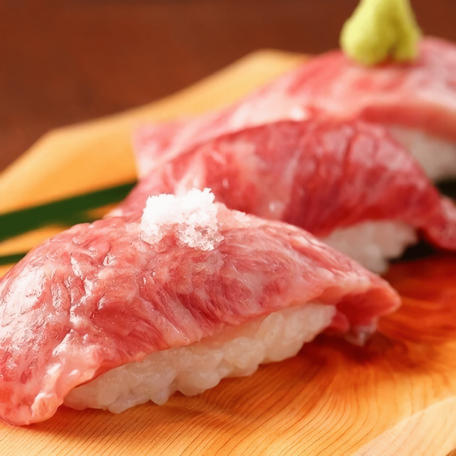 Meat sushi made of the best ingredients.