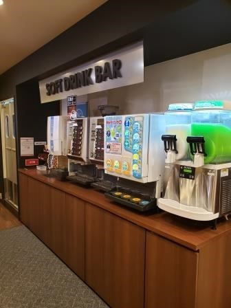 Self-serve drink station with their extensive beverage selection